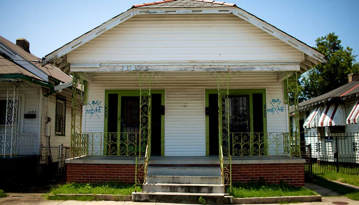 A ruined house in post-Katrina New Orleans, Louisiana.