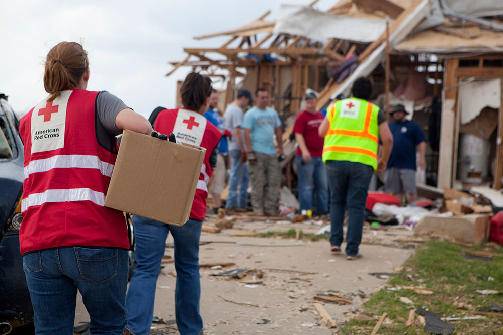 American Red Cross workers at the scene of a disaster.